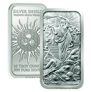 10 oz Silver Shield Silver BU Bars