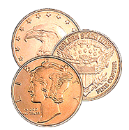 1/4 oz Copper Bullion Rounds