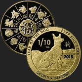1/10 oz Year of the Dog Gold Bullion Round .9999 Fine