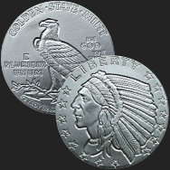 1/2 oz Incuse Indian Fractional Silver Round .999 Fine