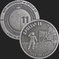 1 oz Apollo 11 50th Anniversary Antiqued Silver Round (capsule included)