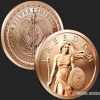 1 oz Standing Freedom Copper Bullion Round .999 Fine