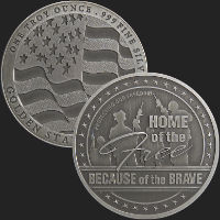 1 oz GSM Home of the Free Antiqued Silver Round (capsule included)