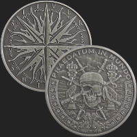1 oz Pieces of Eight Antiqued Silver Round (capsule included)