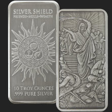 10 oz Jesus Clears the Temple Antiqued Silver Bar (capsule included)