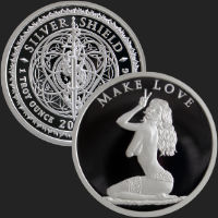 1 oz Make Love Proof Silver Round Silver Shield .999 Fine