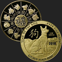 1 oz Year of the Dog Gold Bullion Round .9999 Fine