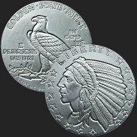 1 oz Incuse Indian Silver Round .999 Fine