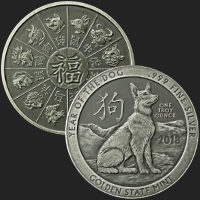 1 oz Year of the Dog Antiqued Silver Round (capsule included)