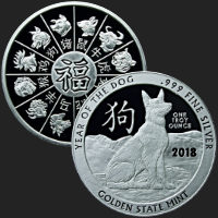 1 oz Year of the Dog Silver Round .999 Fine