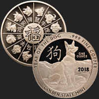 1 oz Year of the Dog Copper Bullion Round .999 Fine