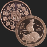 1 oz Year of the Rat Copper Bullion Round .999 Fine