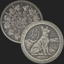 2 oz Year of the Dog Antiqued Silver Round .999 Fine (capsule included)
