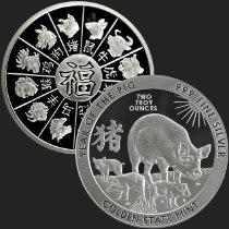 2 oz Year of the Pig Silver Round .999 Fine