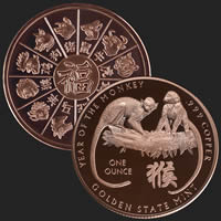1 oz Year of the Monkey Copper Bullion Round .999 Fine