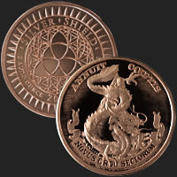 1 oz Dollar Dragon MiniMintage BU Copper Round .999 Fine