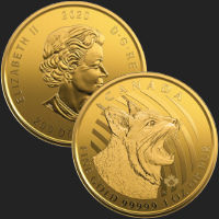 2020 1 oz Canadian Bobcat .99999 Fine Gold Coin BU (Assay Card)