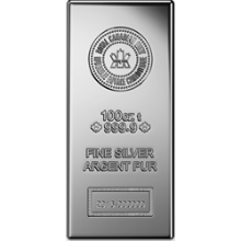 100 oz Silver Bar Royal Canadian Mint