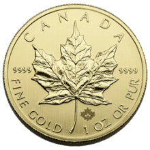 1 oz Canadian Gold Maple Leaf Coin .9999 Fine (Random Year, Varied Condition)