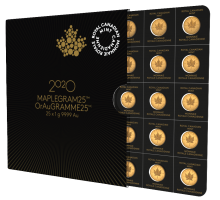 2020 25 Gram Maplegram Gold Coins (25x 1 gram coins w/ Assay)