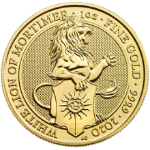 2020 1 oz British Gold Queen's Beast White Lion of Mortimer Coin (BU)