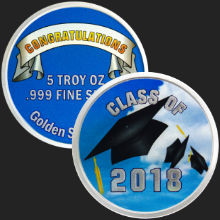 5 oz Happy Graduation 2018 Silver Round .999 Fine (capsule included)