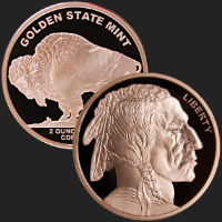 2 oz Buffalo Copper Bullion Round .999 Fine