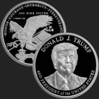 1 oz President Donald J. Trump Proof Silver Round (leatherette box & capsule included)