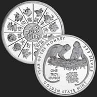 1 oz Year of the Monkey Silver Round .999 Fine