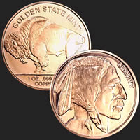 1 oz Buffalo Copper Bullion Round .999 Fine