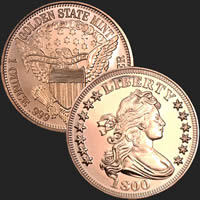 1 oz Draped Bust Copper Bullion Round .999 Fine