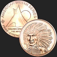 1 oz Red Cloud Copper Bullion Round .999 Fine