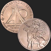 1 oz Red Horse Copper Bullion Round .999 Fine