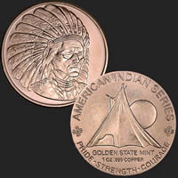 1 oz Sitting Bull Copper Bullion Round .999 Fine