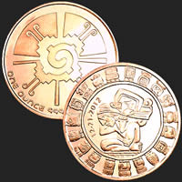 1 oz Mayan Calendar Copper Bullion Round .999 Fine