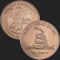 1 oz Don't Tread On Me Copper Bullion Round .999 Fine