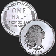 1/2 oz Flowing Hair Fractional Silver Round
