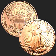 1/2 oz Saint-Gaudens Copper Bullion Round .999 Fine