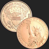 1/2 oz Statue of Liberty Copper Bullion Round .999 Fine