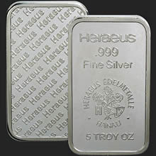 5 oz Heraeus Silver Bullion Bar .999 Fine