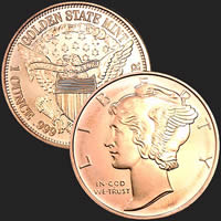 1 oz Mercury Dime Copper Round