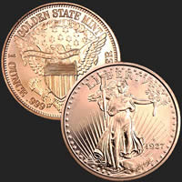 1 oz Saint-Gaudens Copper Bullion Round .999 Fine