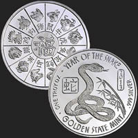 1 oz Year of the Snake Silver Round .999 Fine