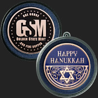 1 oz Happy Hanukkah Copper Round .999 Fine (ornament capsule included)