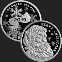1 oz Merry Christmas Santa 2019 Proof Silver Round .999 Fine (capsule included)