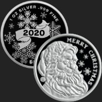 1 oz Merry Christmas Santa 2020 Proof Silver Round .999 Fine (leatherette box & capsule included)