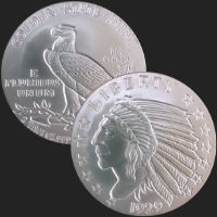 2 oz Incuse Indian Silver Round .999 Fine