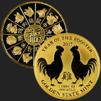 1 oz Year of the Rooster Incuse Gold Bullion Round .9999 Fine