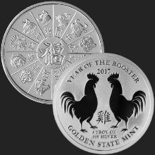 5 oz Year of the Rooster Incuse Silver Round .999 Fine