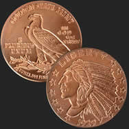 1/2 oz Incuse Indian Copper Round